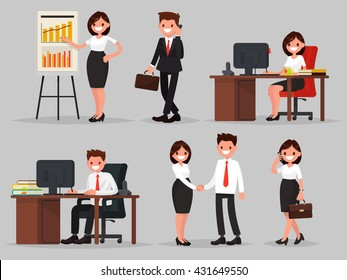 Set of business people in different situations