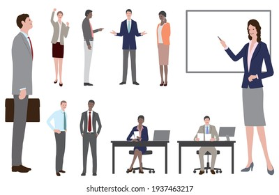 Set of business people in flat style isolated on a white background. Vector illustration.