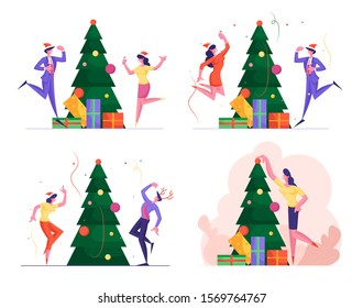 Set of Business People Have Fun on Office Christmas Party in Company of Happy Colleagues. New Year Celebration at Work with Champagne, Decorated Xmas Tree and Confetti. Flat Vector Illustration