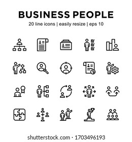 Set of business people icons, containing organizational structure icons, identities, relationships, experience history and others with a white background.