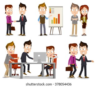 Set of business people illustrations in different scenes including team leader and CO shaking hands, manager presenting analytic, programmer presenting new solution to company leaders, guys walking