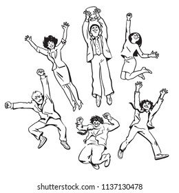 Set of business people men and women jumping for joy holding up winning cup.  Team celebrate their success and professional achievements. Partnership  teamwork concept. Black and white vector sketch.