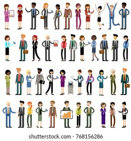 Set of business people, office workers. Vector illustration
