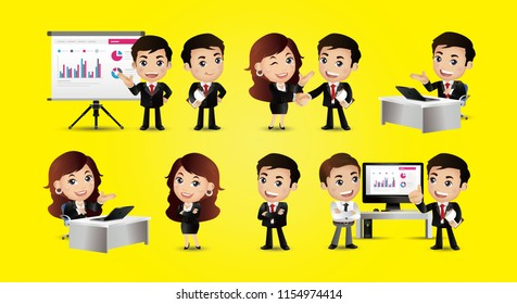 Set of business people. Presentation, agreement, work at the computer