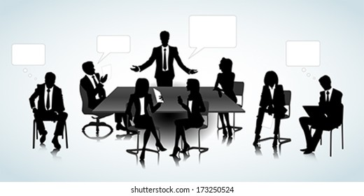 Set of business people silhouettes on the office background