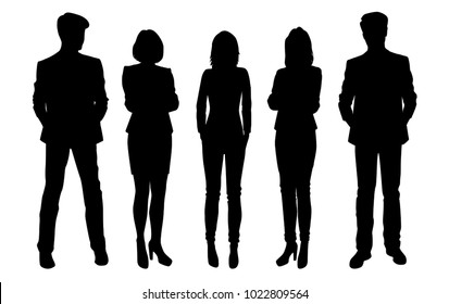 Set of business people, vector silhouettes, group men and women, black color, isolated on white background