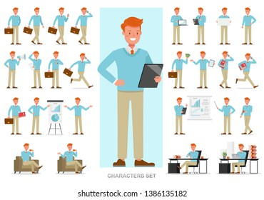 Set of business people working character vector design. Presentation in various action with emotions, running, standing and walking.