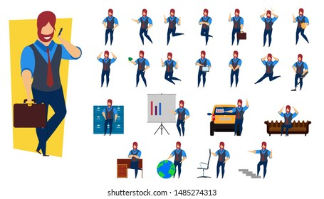 Set business person vector illustration character design. Businessman male professional cartoon office young human worker job concept. Corporate flat employee finance guy. Happy leader staff pose