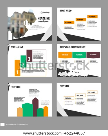 set business presentation cover page slides stock vector royalty