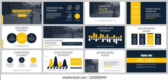 Set of business presentation slides templates from infographic elements. Can be used for presentation brochure, flyer, corporate report, marketing, advertising, annual report, banner, catalog.