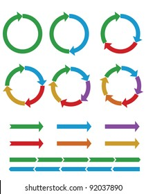 Set of Business process diagrams, circles and arrows