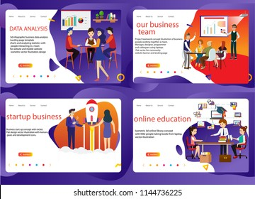 set of business such as data analysis,people in teamwork,startup your business,online education, analysisLanding page template,vector design