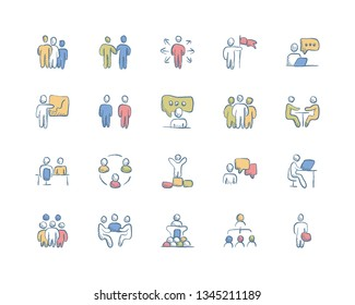 Set of Business Team Related Hand drawn Color icons