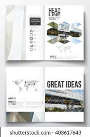 Set of business templates for brochure, magazine, flyer, booklet or annual report. Abstract colorful polygonal background, blurred image, urban scene, modern stylish triangular vector texture.