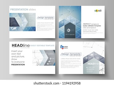 Set of business templates for presentation slides. Easy editable abstract vector layouts in flat design. Geometric blue color background, molecule structure, science concept. Connected lines and dots.