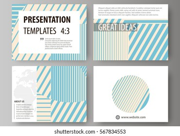 Set of business templates for presentation slides. Easy editable abstract vector layouts in flat design. Minimalistic design with lines, geometric shapes forming beautiful background