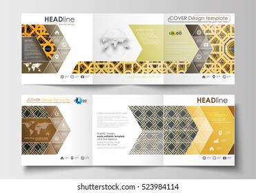 Set of business templates for tri-fold brochures. Square design. Leaflet cover, flat layout. Islamic gold pattern, overlapping geometric shapes forming abstract ornament. Vector golden texture.