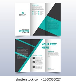 Set of business tri-fold brochure template with turquoise color in a4 size layout. Corporate design for leaflet or flyer with flat modern elements and abstract background. Creative and trend concept.