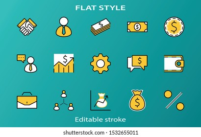 Set of Business vector line icons. It contains symbols of a handshake, a user, dollar pictograms, gears, a briefcase, a bag of money, a schedule and much more. Editable Stroke. 32x32 pixels.