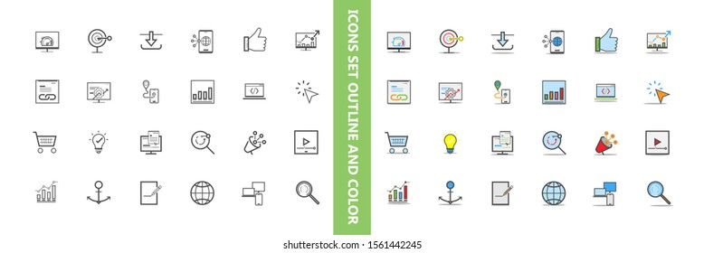 Set of  business website vector icons.