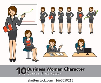 Set of Business Woman Character Design Vector Illustration