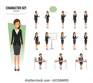 Set of Business Woman Character in office style. Business job function. Illustration vector of avatar people design.