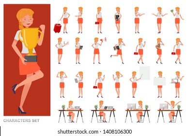 Set of business Woman character vector design. Presentation in various action with emotions, running, standing and walking. no2