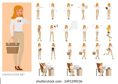 Set of business Woman character vector design. Girl wear white shirt and working in office. Presentation in various action with emotions, running, standing and walking.