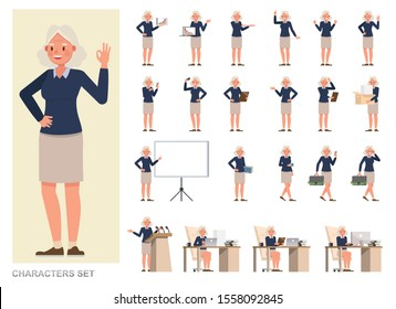 Set of business Woman character vector design. Girl working in office. Presentation in various action with emotions, running, standing and walking.