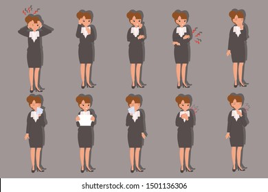 Set of business woman in different poses. A character for your project. Vector illustration in a flat style
