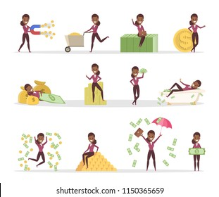 Set of business woman with money. Happy successfull woman jumping with a pile of money, sitting on the banknotes and swimming in bath full of cash. Financial well-being.