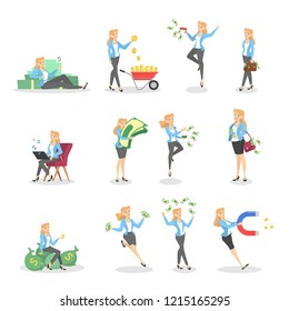 Set of business woman with money. Happy successfull woman jumping with a pile of money, sitting on the banknotes and hugging cash. Financial well-being.