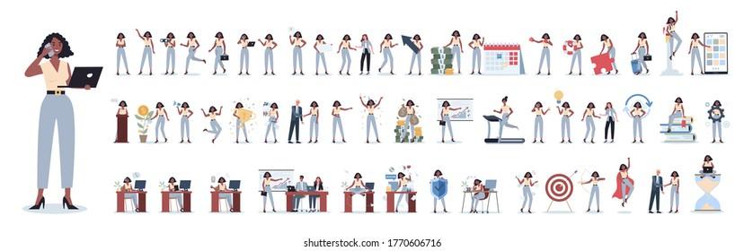 Ensemble de femmes d'affaires ou de travailleurs de bureau avec diverses poses, face émotions et gestes. Parler au téléphone, s'asseoir et faire une présentation. Illustration vectorielle isolée à plat