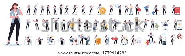 Set of business woman or office worker character with various poses, face emotions and gestures. Talking on the phone, sitting and making presentation. Isolated flat vector illustration