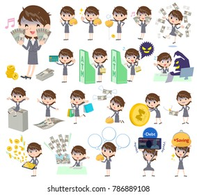 A set of business women with concerning money and economy. There are also actions on success and failure. It's vector art so it's easy to edit.