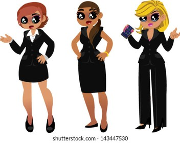 A set of business women - Vector clip art illustration on white