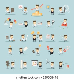 set of businessman activities vector