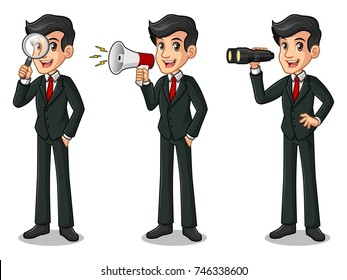 Set of businessman in black suit cartoon character design, looking through binoculars, holding magnifying glass, and talking yelling shouting announcement with megaphone.