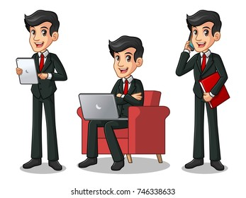 Set of businessman in black suit cartoon character design working on gadgets, tablet, laptop computer, and mobile phone, isolated against white background.