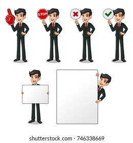 Set of businessman in black suit cartoon character design holding a blank empty sign board banner billboard card poster, number one big foam hand finger, stop, right correct yes and wrong no signs.