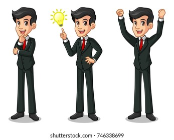 Set of businessman in black suit cartoon character design get great idea inspiration light bulb, thinking thoughtful gesture, and celebrating victory winner successful success with raised up arms.