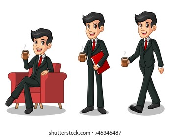 Set of businessman in black suit cartoon character design making a break relaxing with holding drinking a coffee tea, isolated against white background.