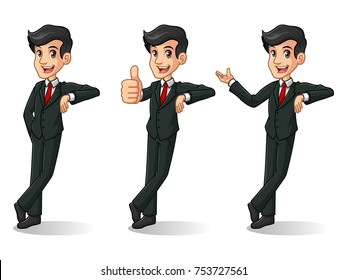 Set of businessman in black suit leaning against cartoon character design, isolated against white background.