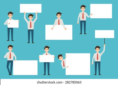 Set of businessman with blank white banner in various action. Full lenght body of character, simple and flat design.