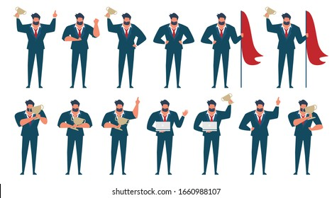 set of Businessman in blue suite showing different gestures character vector flat design,Business cartoon simple design with office man be successful concept,victory person in success pose.