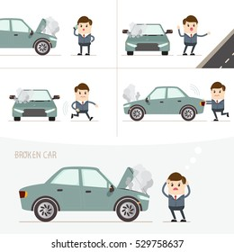 set of businessman with broken car