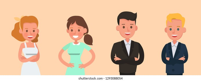 Set of Businessman and Businesswoman character vector design. no1