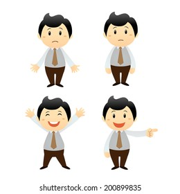set businessman cartoon character