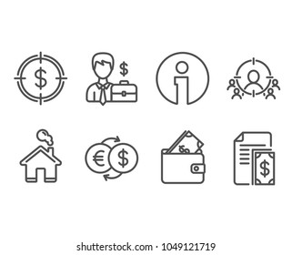 Set of Businessman case, Wallet and Money exchange icons. Business targeting, Dollar target and Payment signs. Human resources, Usd cash, Eur to usd. People and target aim, Cash money. Vector