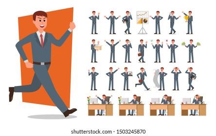 Set of Businessman character design. Vector illustration.